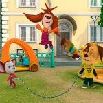 Дружок, Малыш и Лиза прыгают через скакалку
