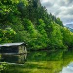 Озеро и подножья гор