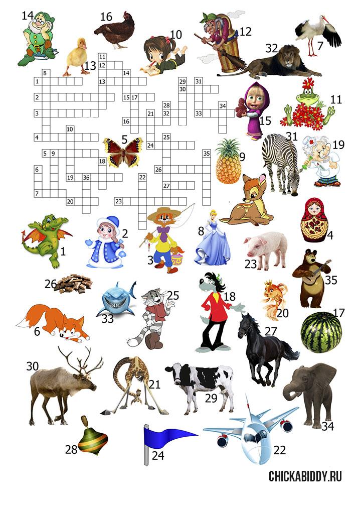 Кроссворд про сказочных и мультяшных персонажей