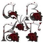 Буквы в готическом стиле с розами