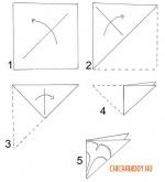 Схема заготовки для четырехугольной снежинки