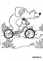 Мишка и Маша на велосипеде