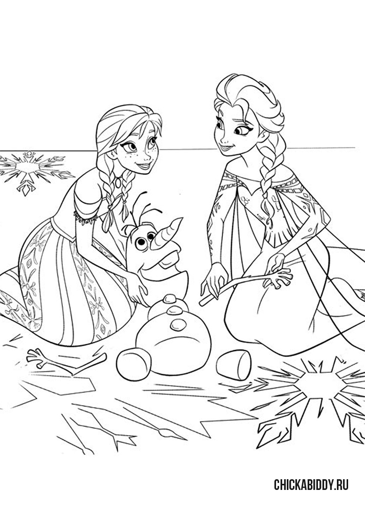 Анна и Эльза помогают Олафу