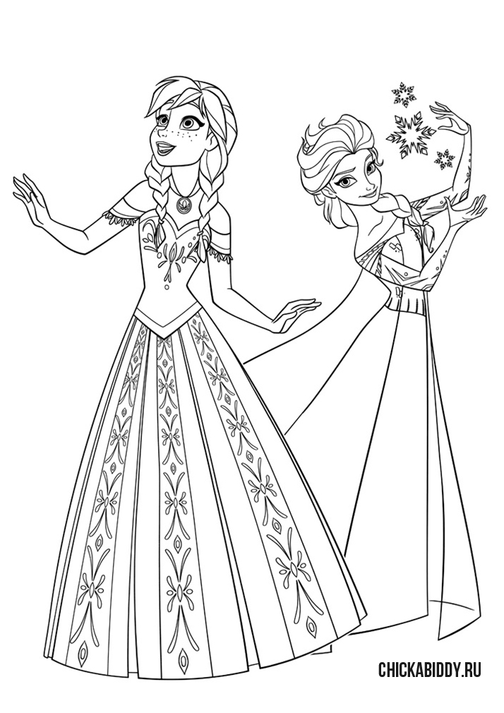 Эльза со снежинками и Анна