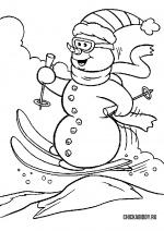 Снеговик катается на лыжах