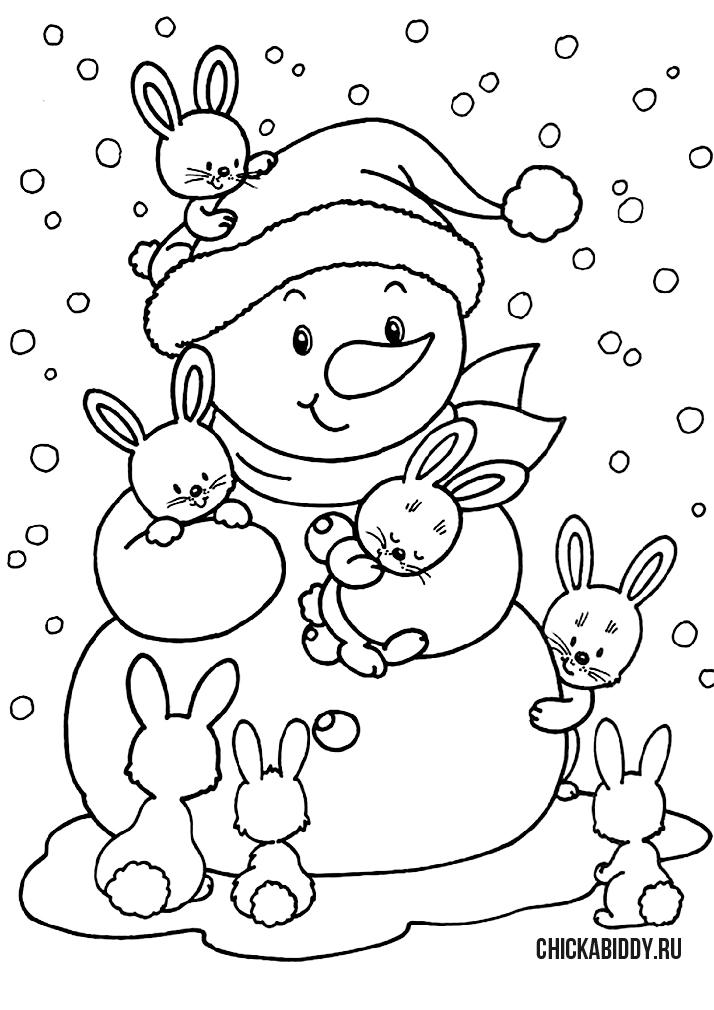 Снеговик с зайчатами