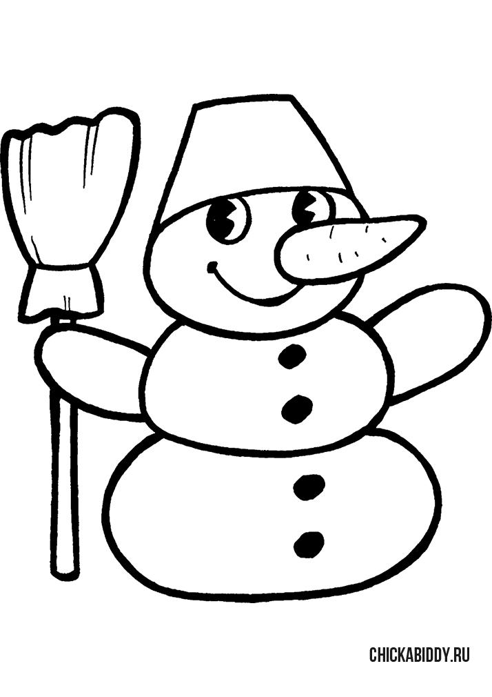 Снеговик с метелкой